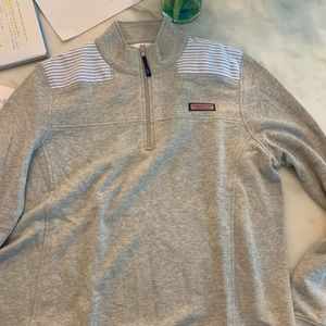 heathered grey quarter zip sweatshirt